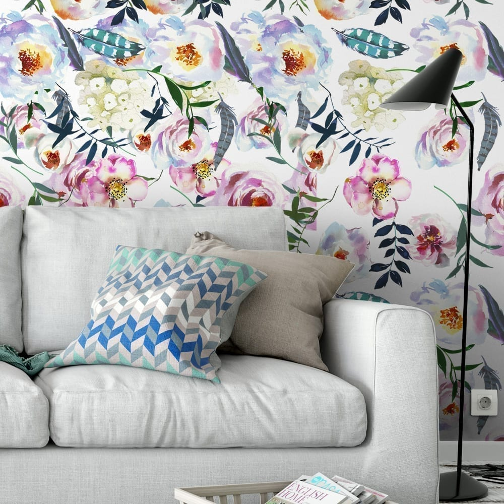 Boho Peonies Watercolor Wallpaper