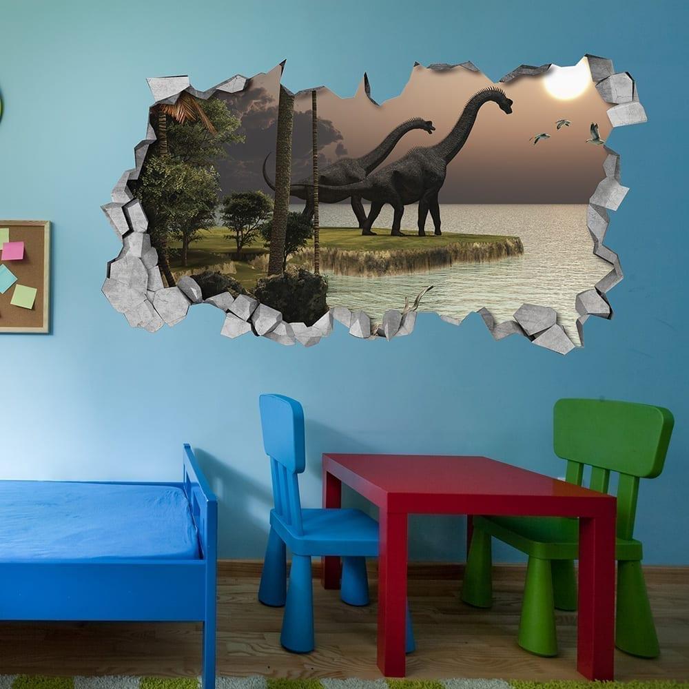 D coration murale 3d coucher du soleil brachiosaure dinosaure for Decoration murale 3d