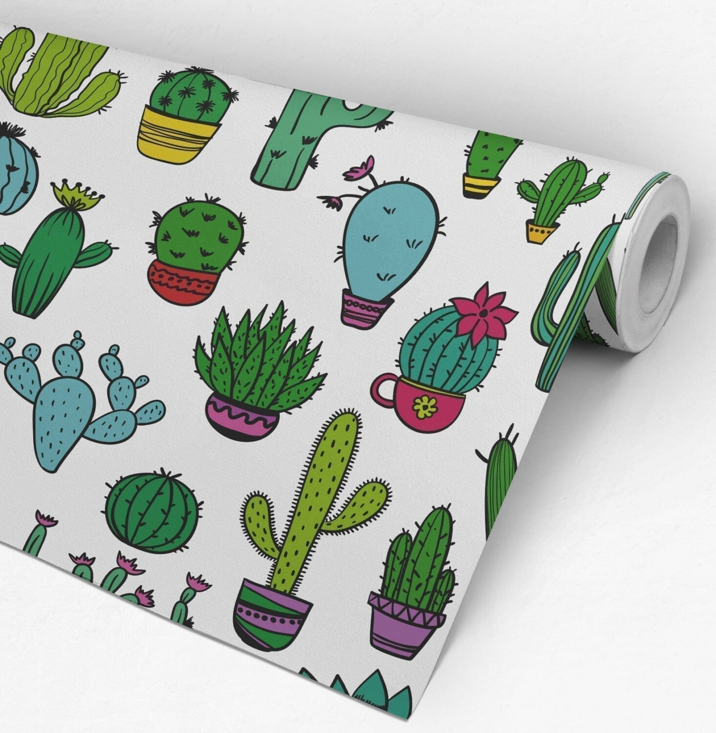 Cacti Pattern Removable Wallpaper Roll