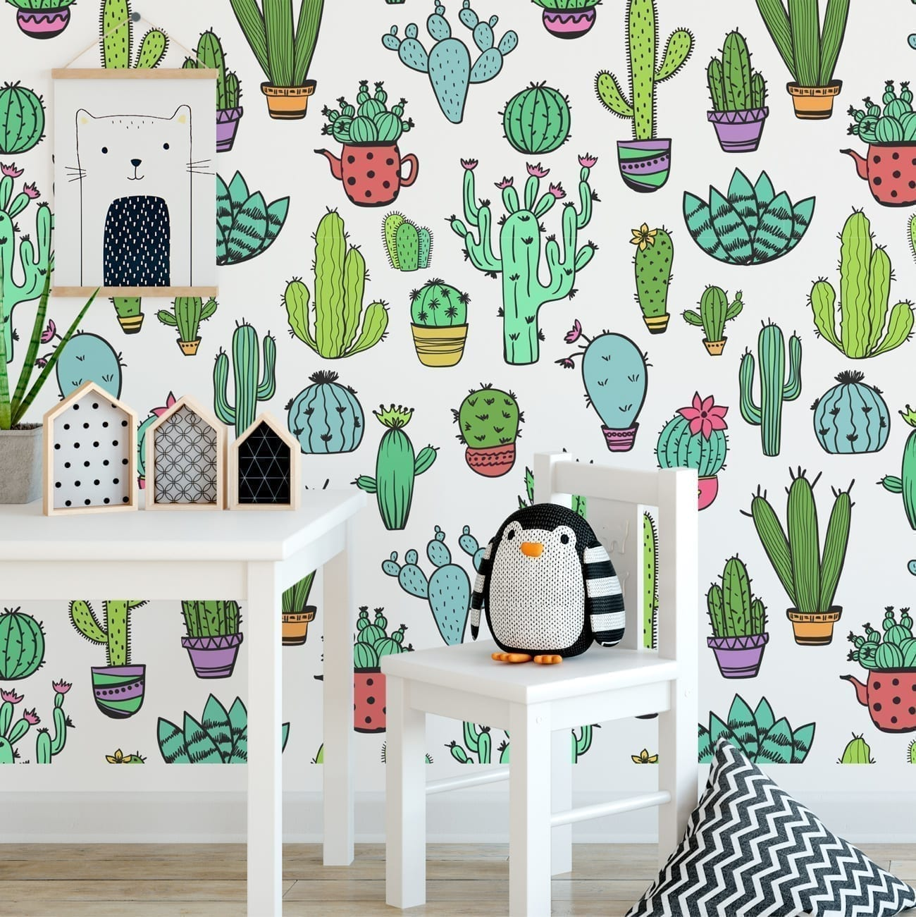 Cacti Pattern Removable Wallpaper