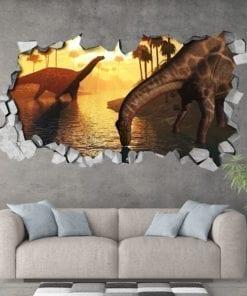 Dicraeosaurus-dinosaurs-sunrise-3d-effect