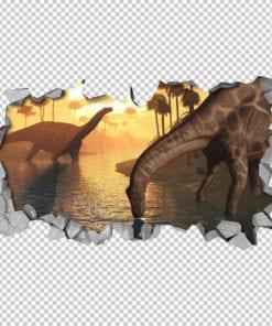 Dicraeosaurus-dinosaurs-sunrise-3d-effect-detail