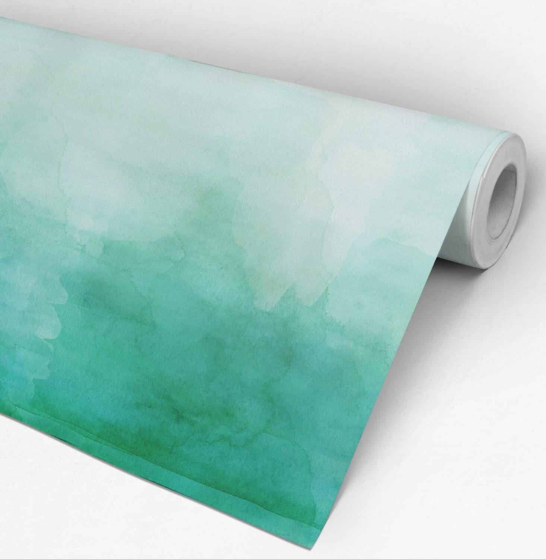 Green Ombre Watercolor Wallpaper Roll
