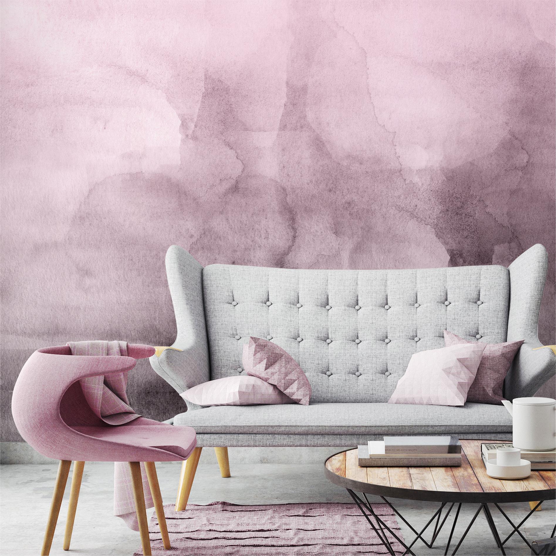 Pink Quartz Ombre Watercolor Wallpaper Moonwallstickers Com