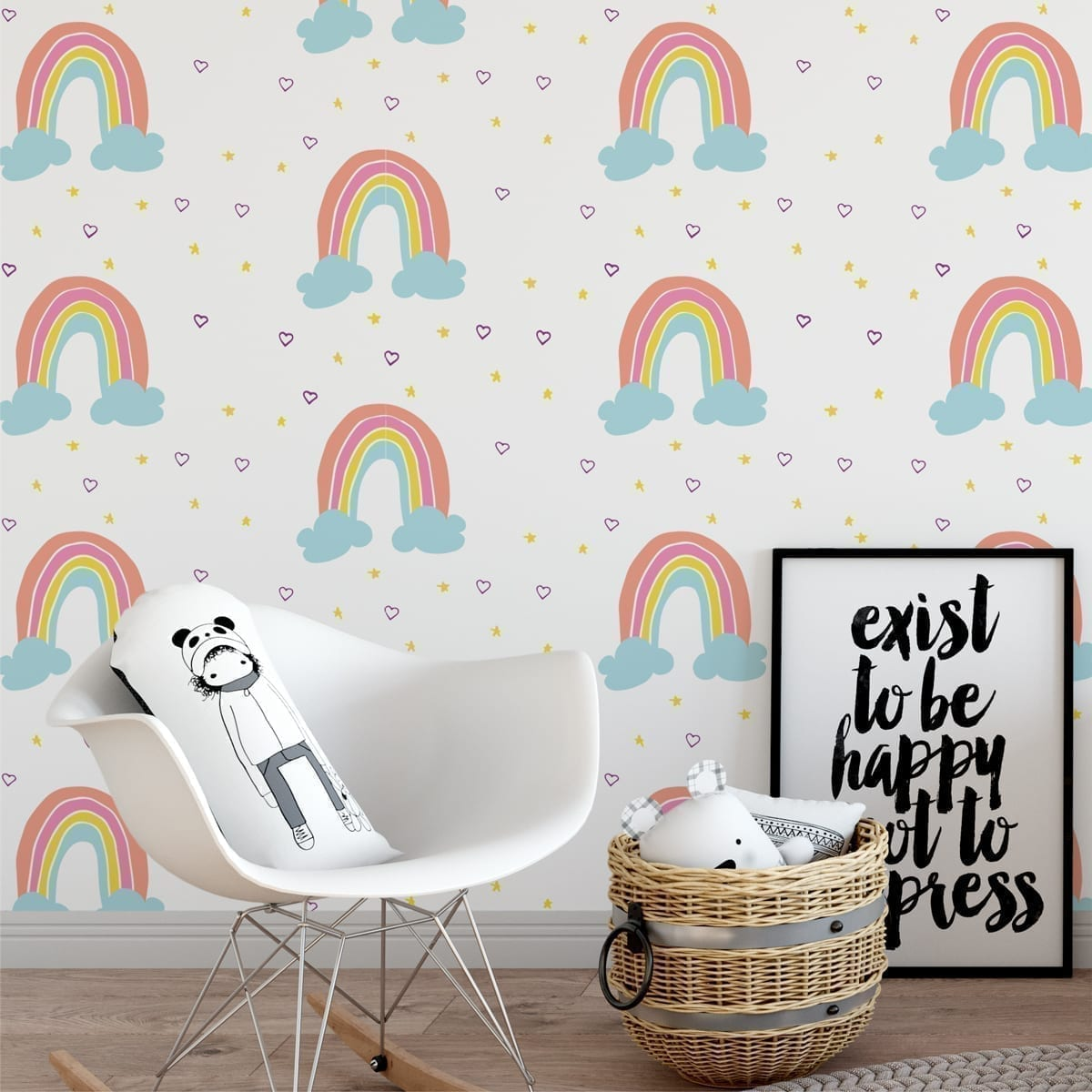 Rainbow Clouds Nursery Wallpaper