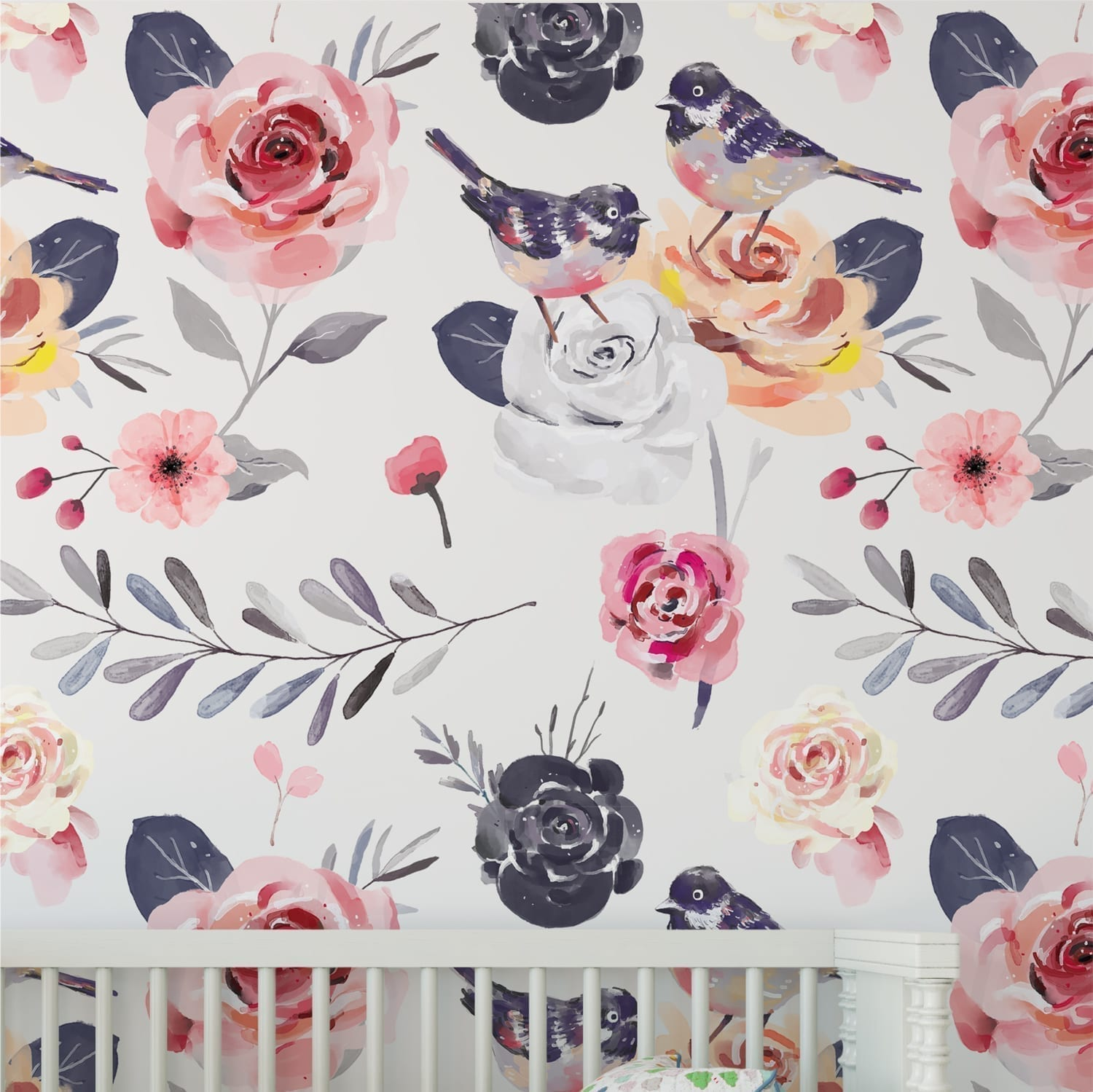 Vintage Floral Nursery Wallpaper Moonwallstickers Com
