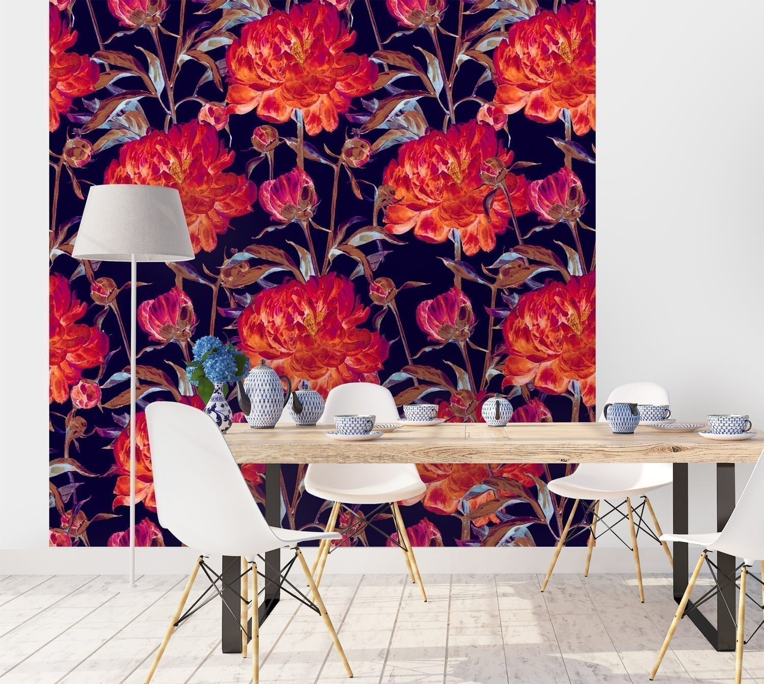 Mural Peonies Flowers Watercolor Wallpaper