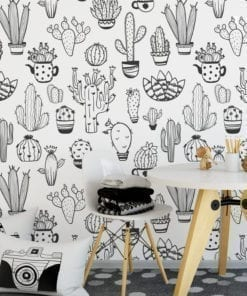 Cacti Pattern BW Removable Wallpaper
