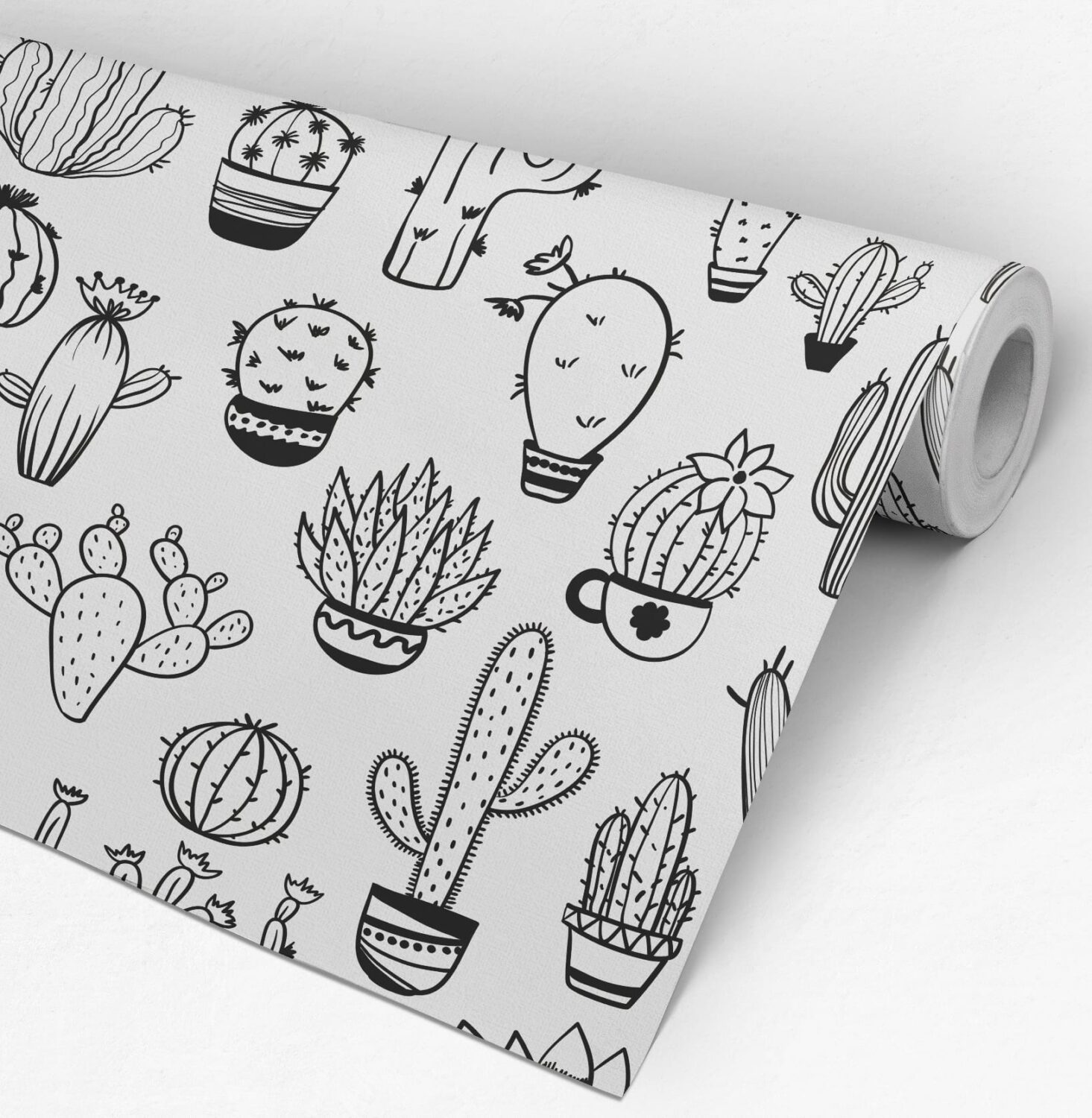 Cacti Pattern BW Removable Wallpaper - Roll