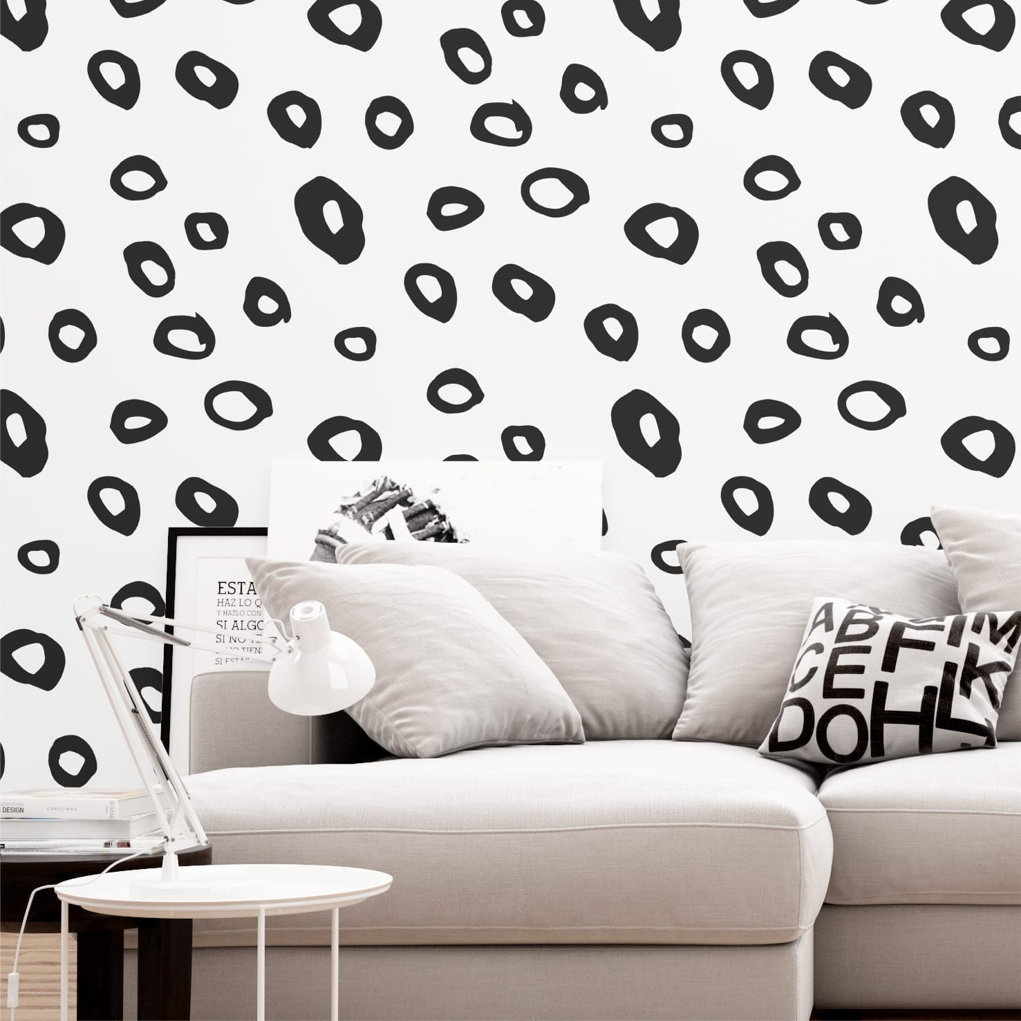 Leopard Pattern Spots BW Wallpaper