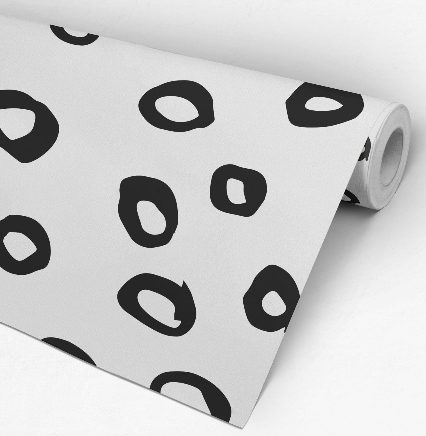 Leopard Pattern Spots BW Wallpaper - Roll