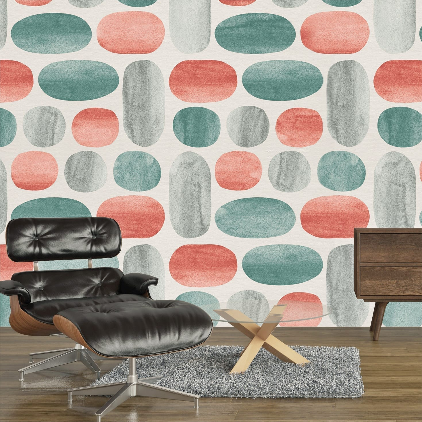 Coral and Jade Watercolor Wall Decoration