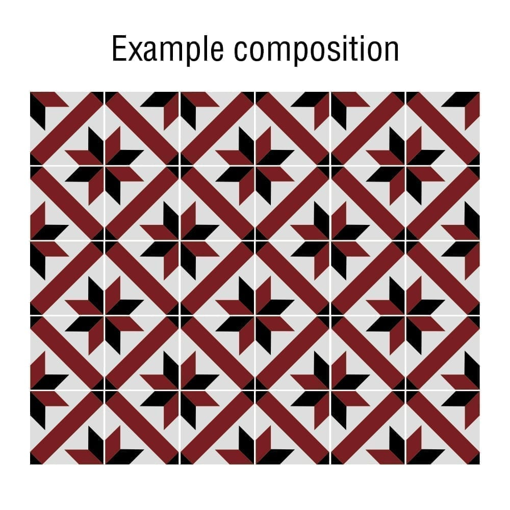 Baldosas adhesivas franc s rojo y negro tradicional caja for Baldosas adhesivas pared