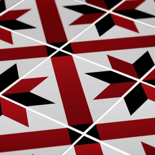 French Red and Black Traditional Tile Decals - Detail