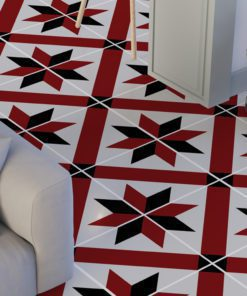 French Red and Black Traditional Tile Decals - Floor