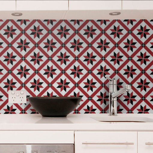 French Red and Black Traditional Tile Decals - Wall