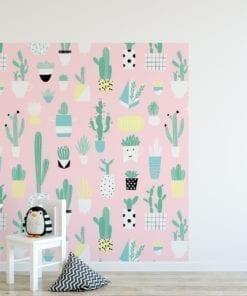 Drôle Modèle Cactus Papier Peint