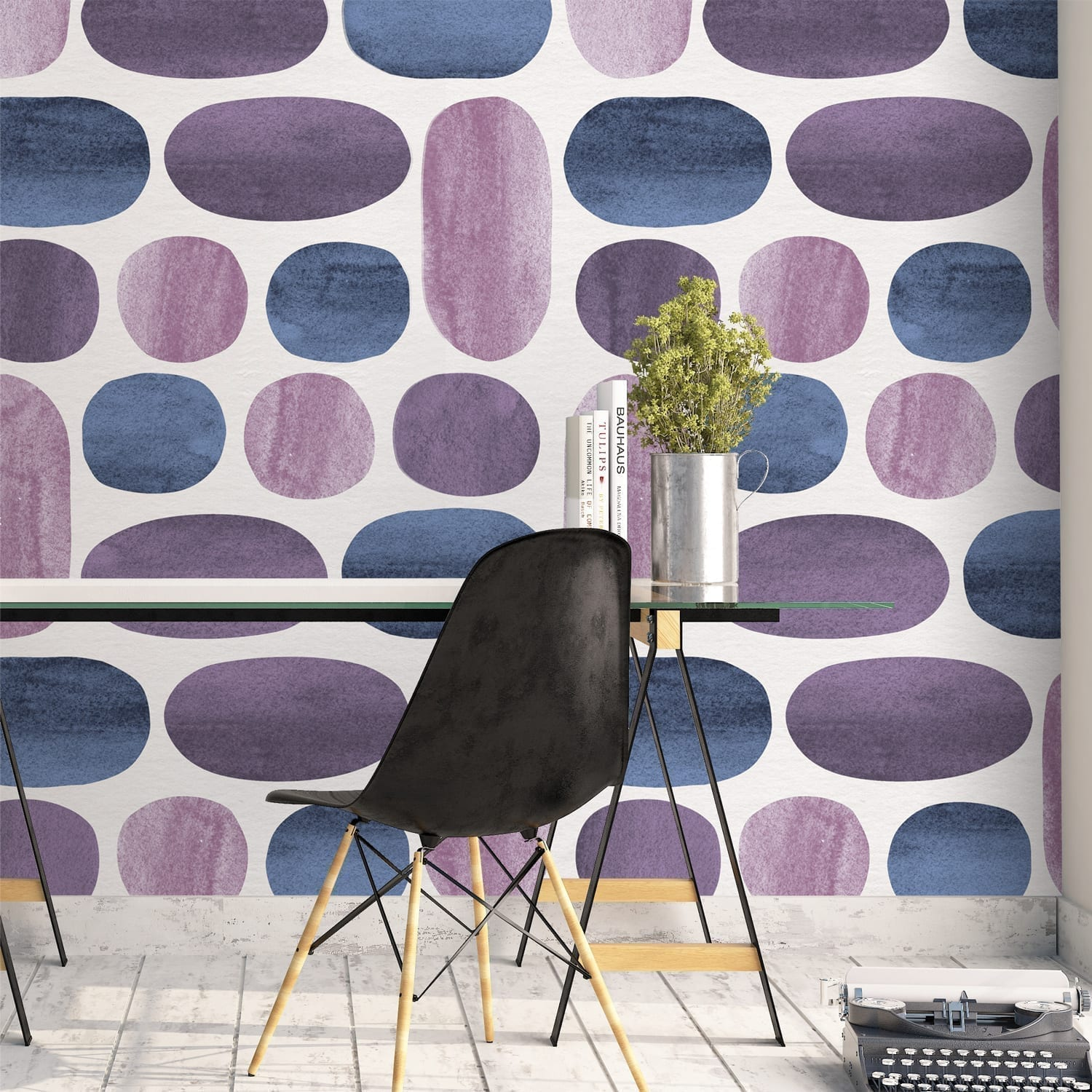 Indigo Watercolor Wall Decoration