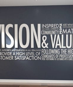 Vision & Values Wanddeko Büro 3D