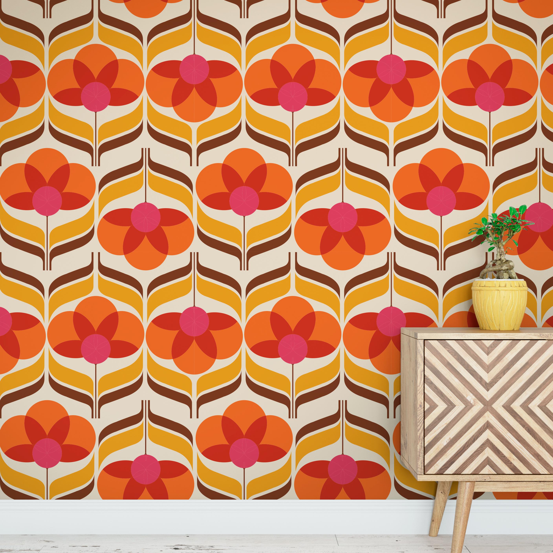Flower Groovie 70s Pattern Wallpaper