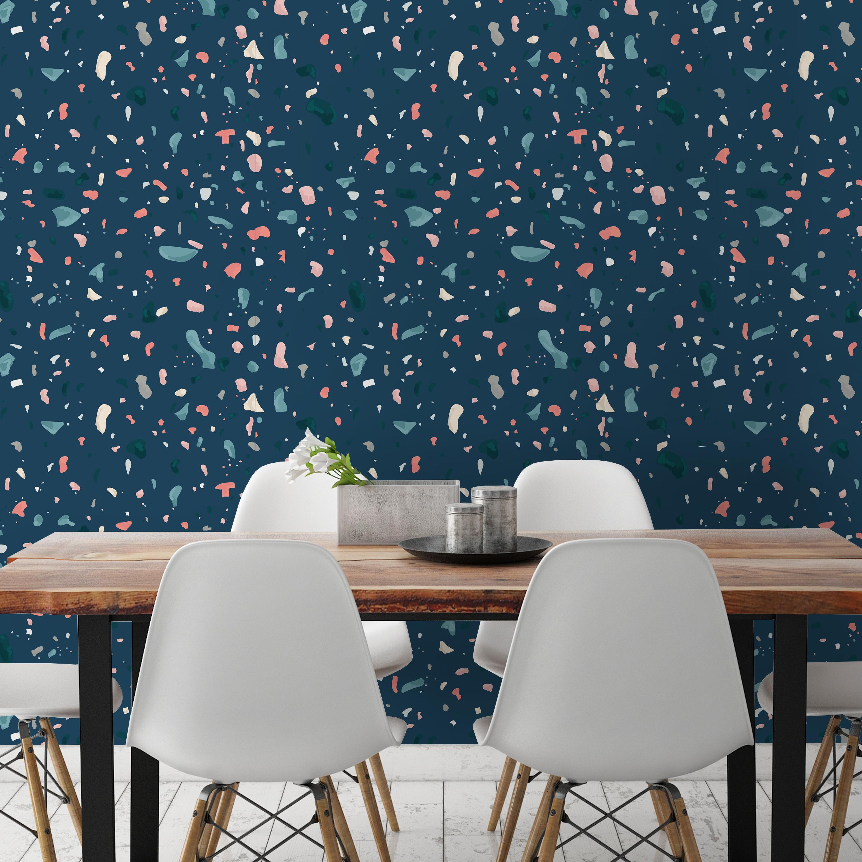 Dark Blue Terrazzo Wallpaper Moonwallstickers Com