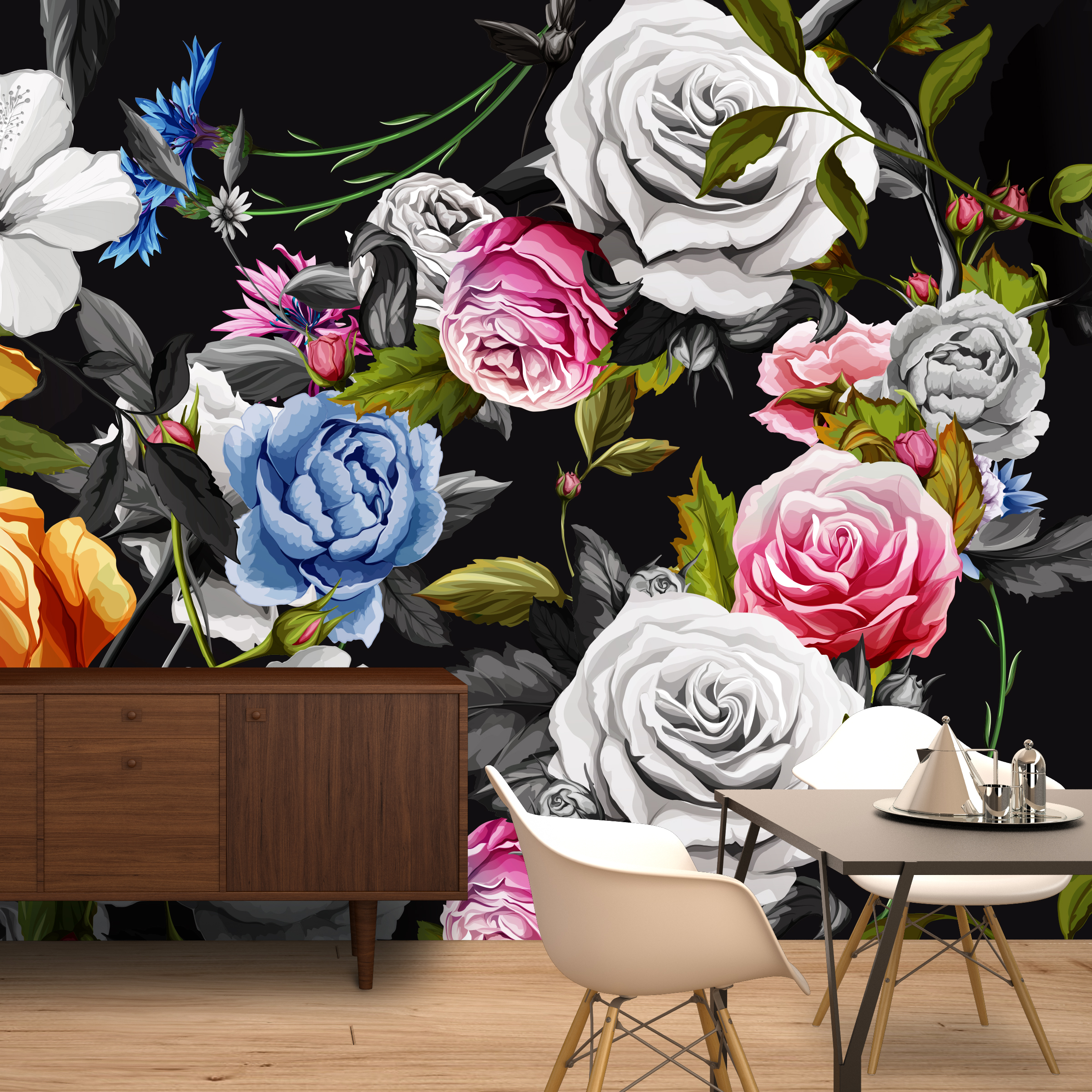 Big Black Floral Wall Mural Moonwallstickers Com