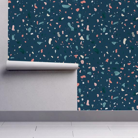 papier peint terrazzo bleu fonc. Black Bedroom Furniture Sets. Home Design Ideas