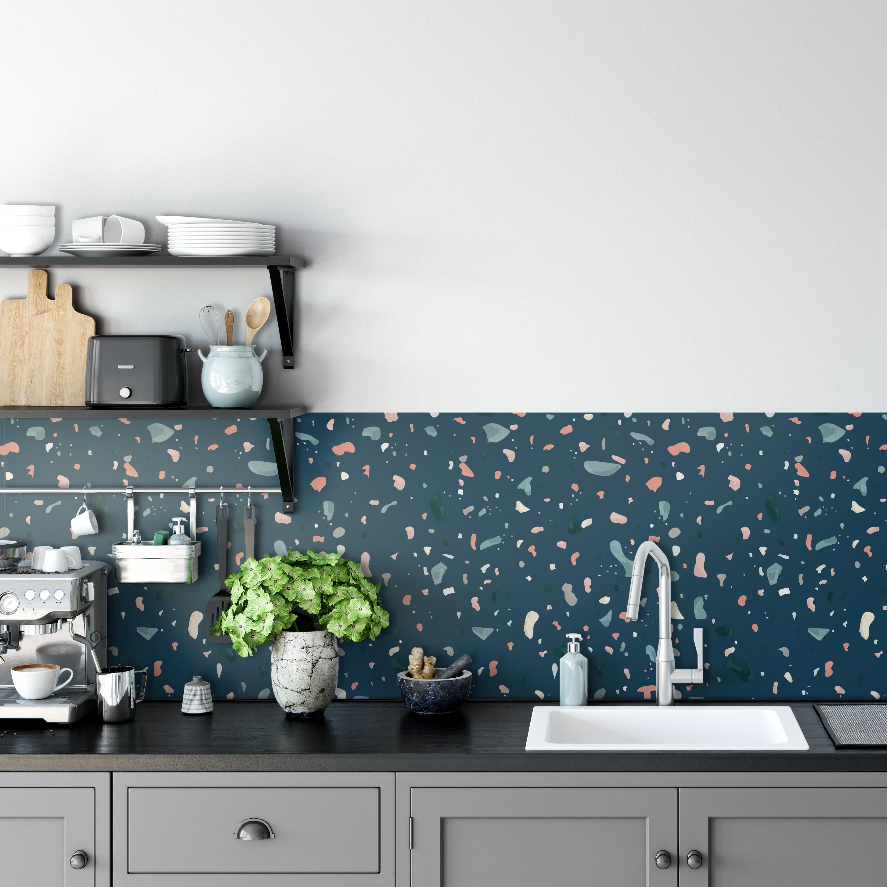 Kitchen Backsplash Decor Dark Blue Terrazzo