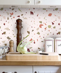 Kitchen Backsplash Decor - Red Terrazzo - Moonwallstickers com
