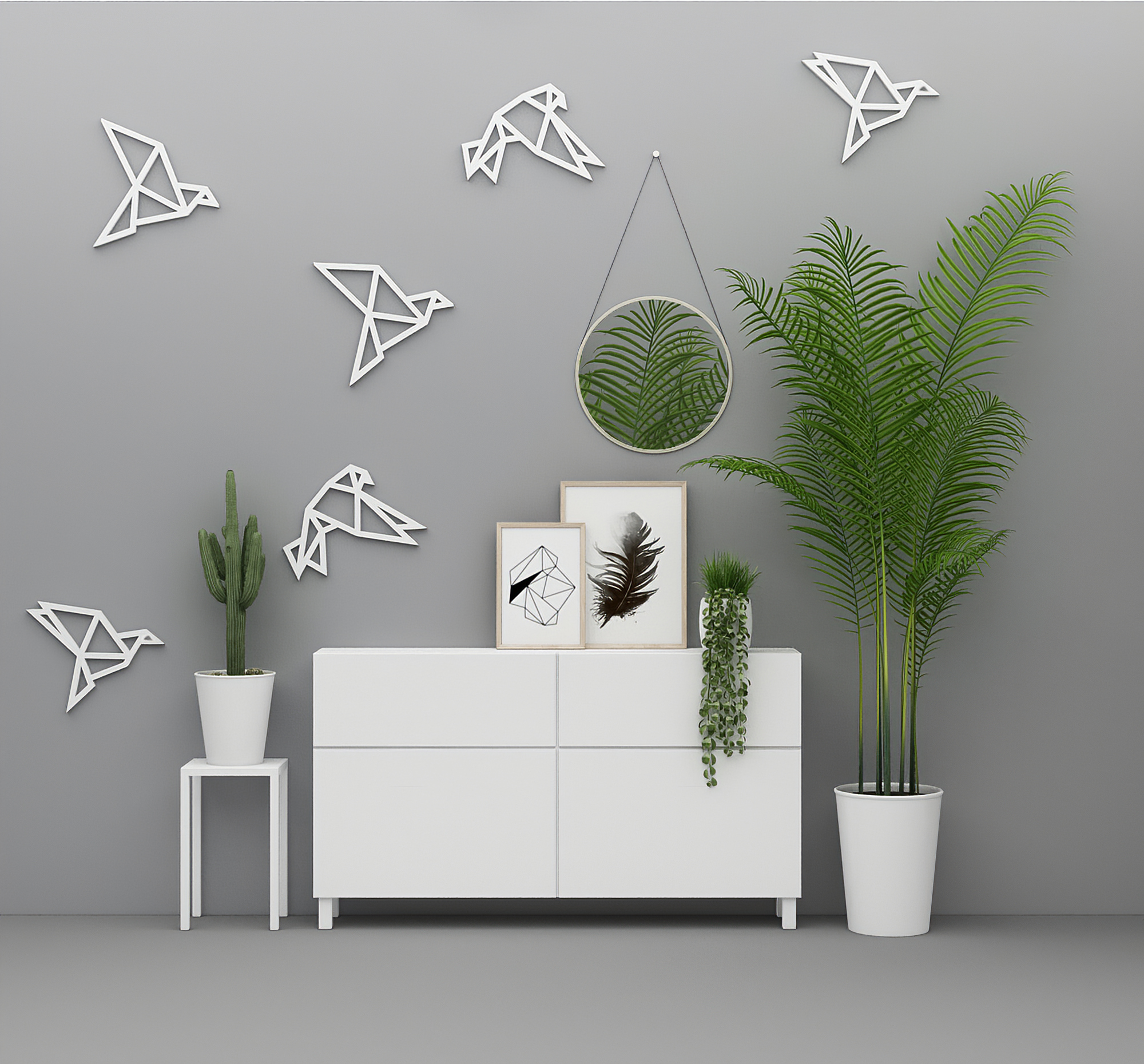 Origami Birds 3d Wall Decor Pack Of 6