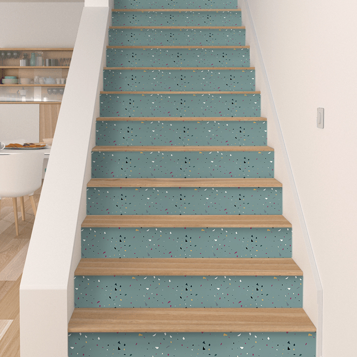 Stair Risers Stickers Blue Terrazzo Pack Of 10