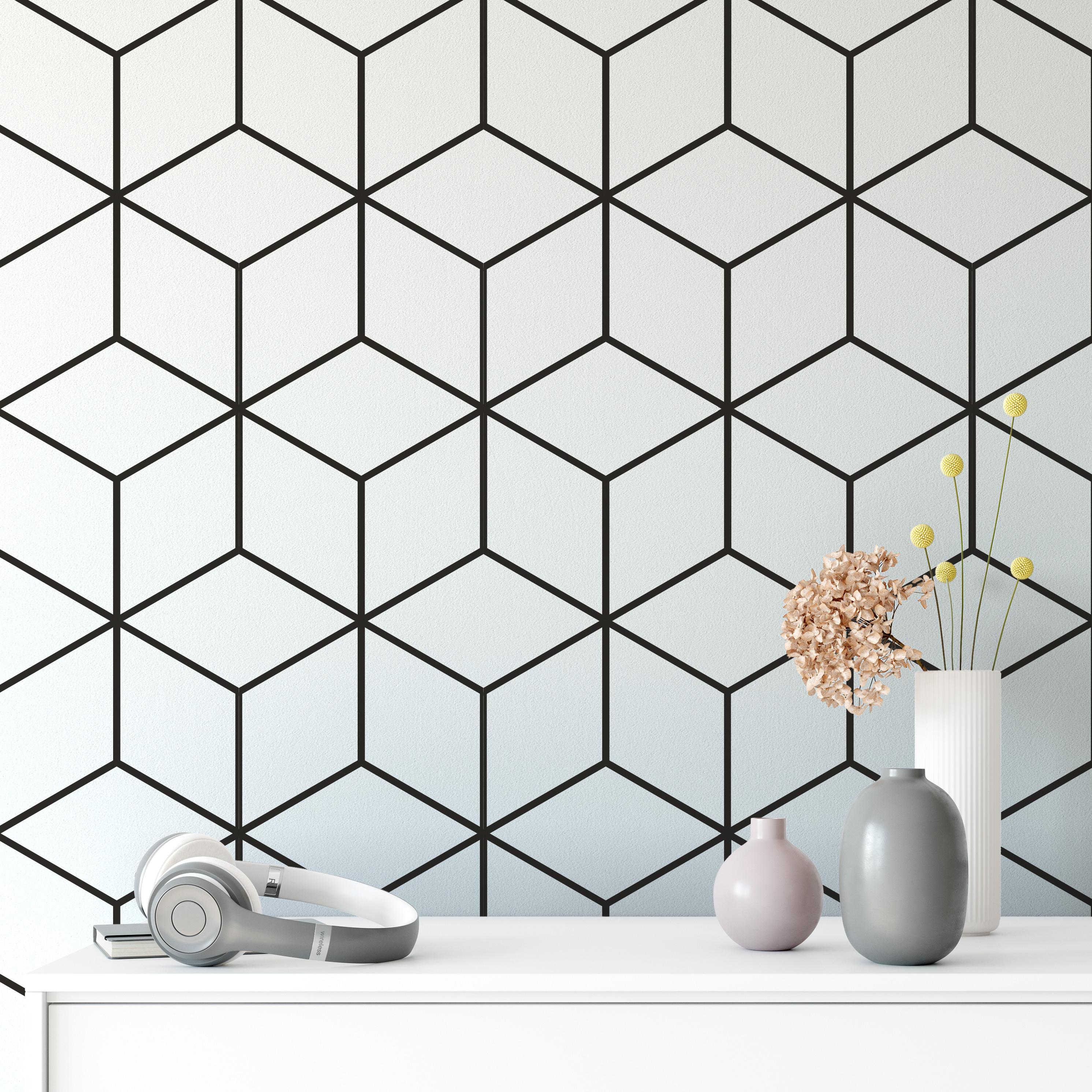 Geometric Cubes Pattern Design Wallpaper Woven Self-Adhesive Wall Art Mural T27