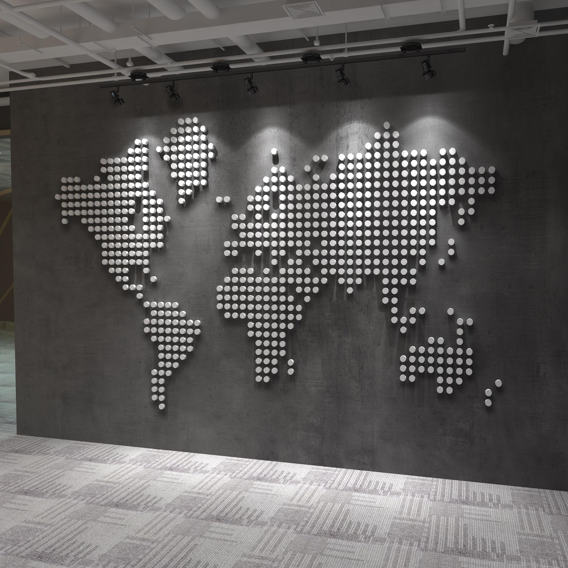 World Map 3D Dots Wall Decor on