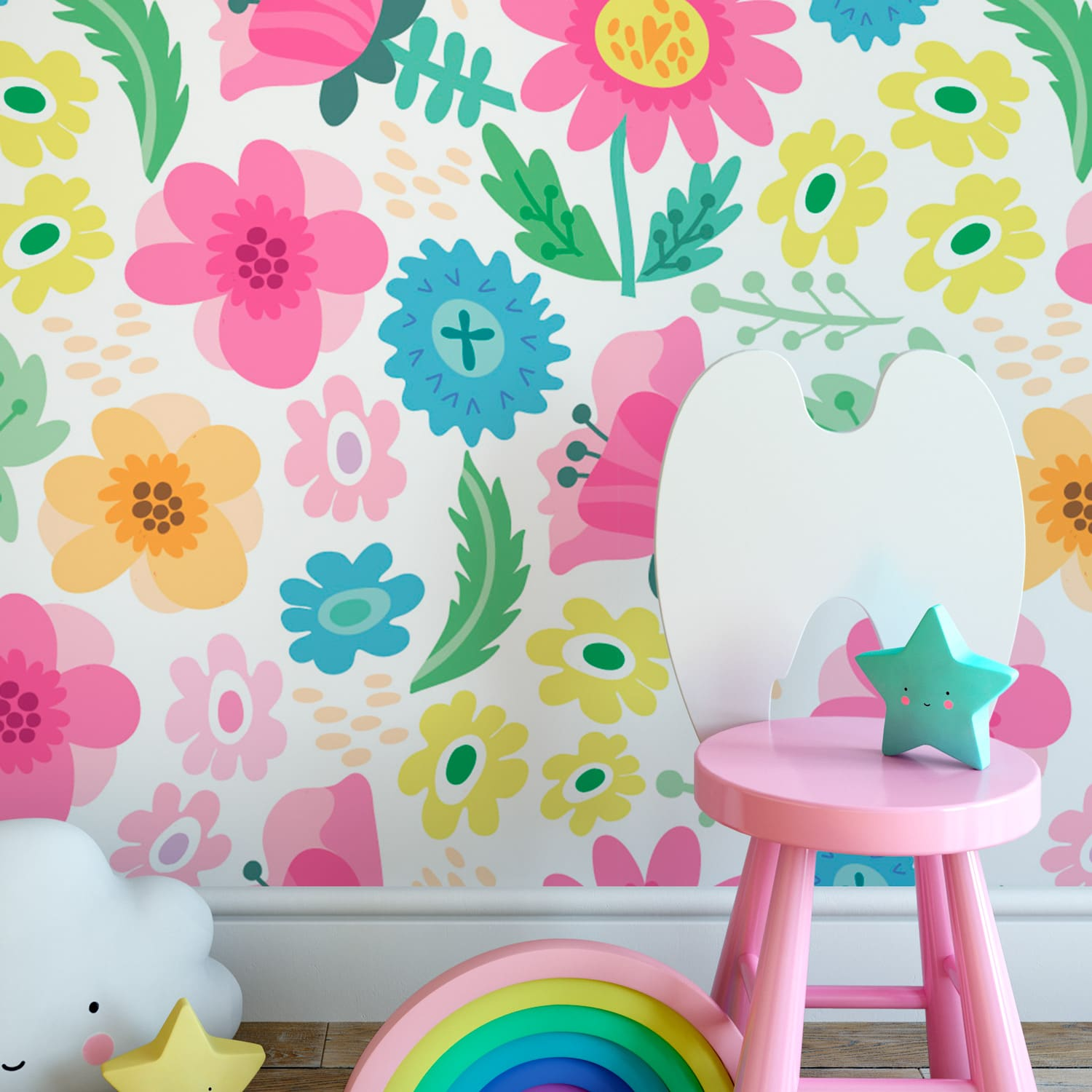 Floral Summer Pattern Wallpaper Moonwallstickers Com