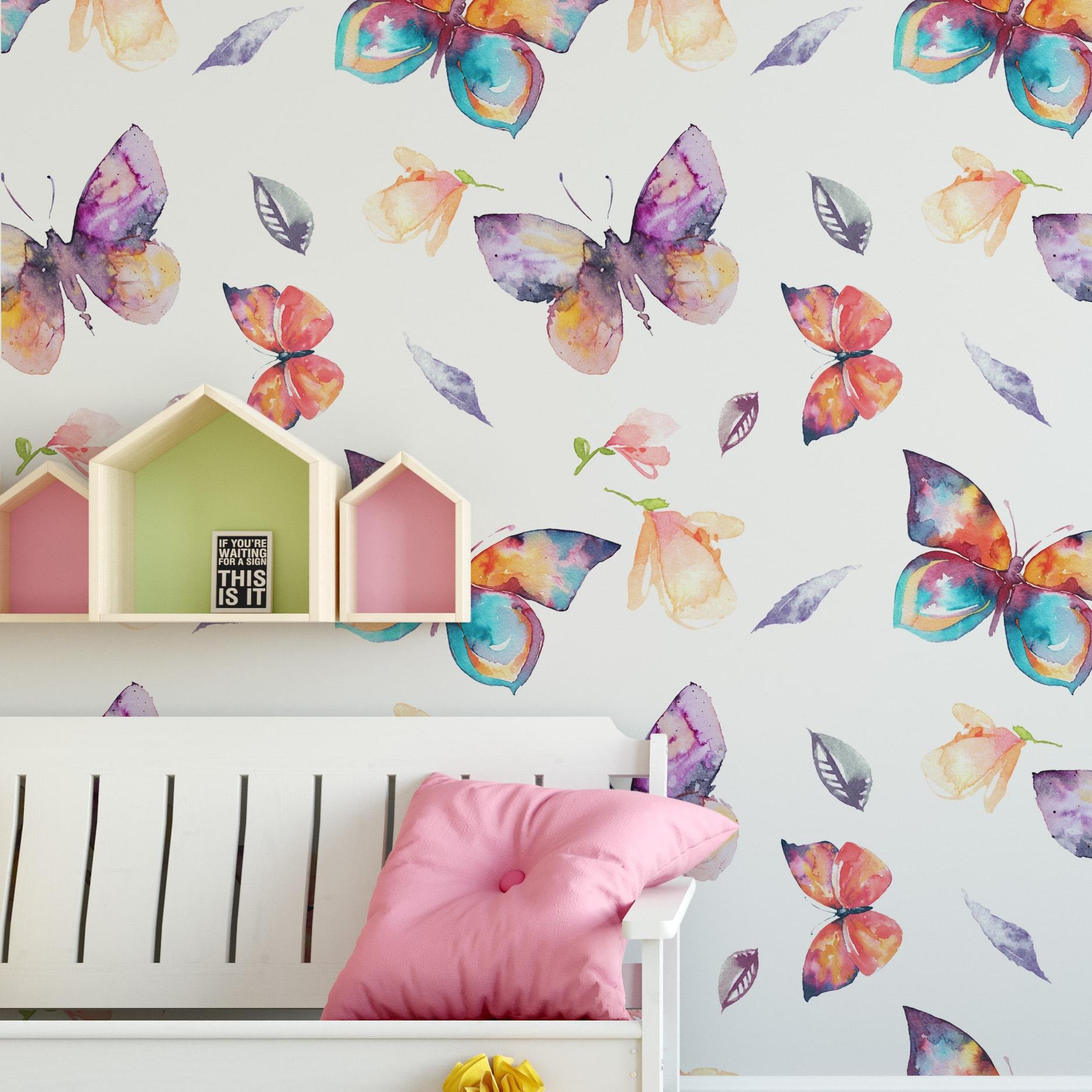 Floral Butterflies Pattern Wallpaper Moonwallstickers Com