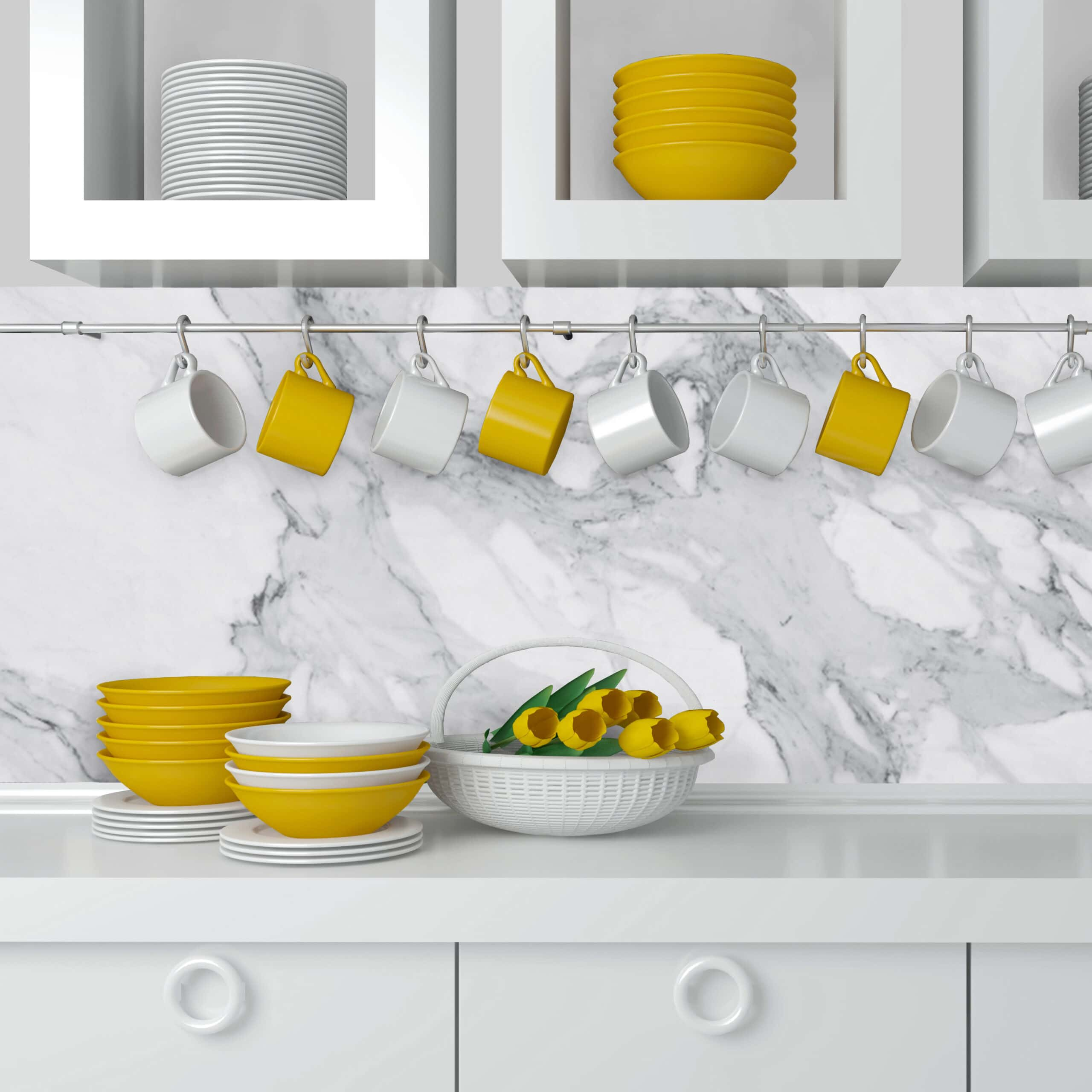 Kitchen Backsplash Decor Marble Effect Moonwallstickers Com