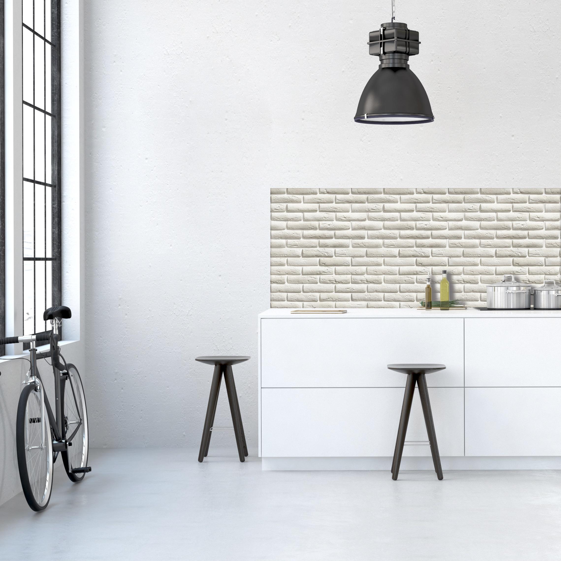 Kitchen Backsplash Decor 3d White Brick Moonwallstickers Com
