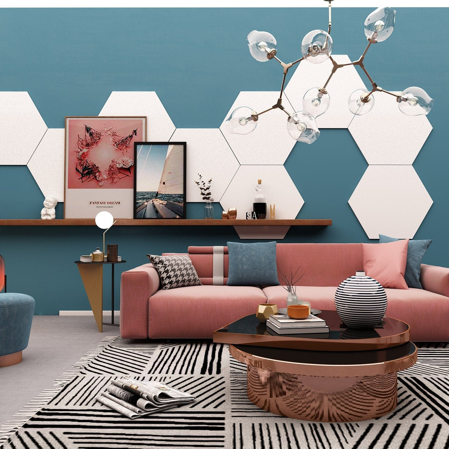 Hexagon Wall Decor Pack 9