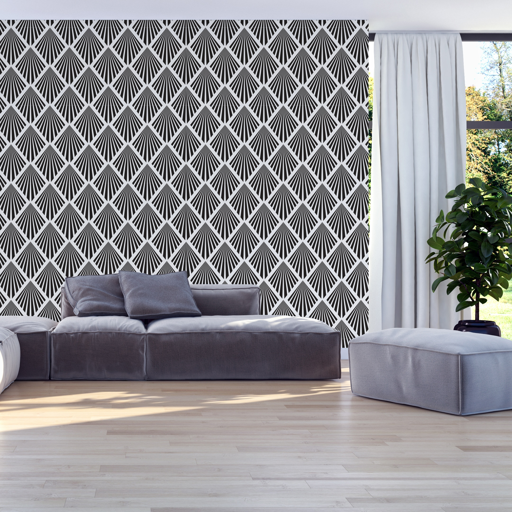 Removable Wallpaper SKU:ADLV Wallpaper Art Deco Pattern Art Deco Leaves Pattern Printed Wall Art