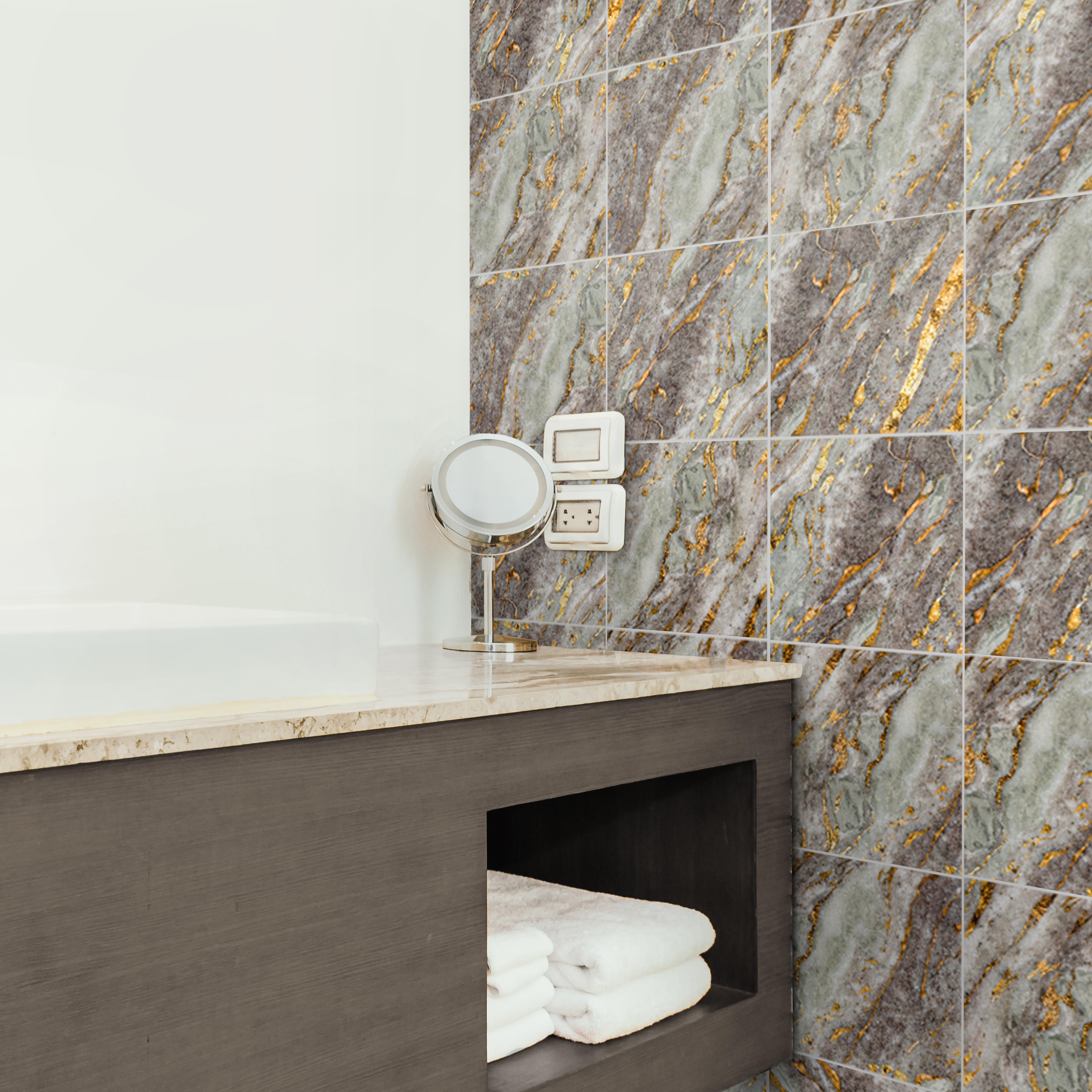 Deco Gris Et Or autocollant pour carrelage marbre gris et or (lot de 10)