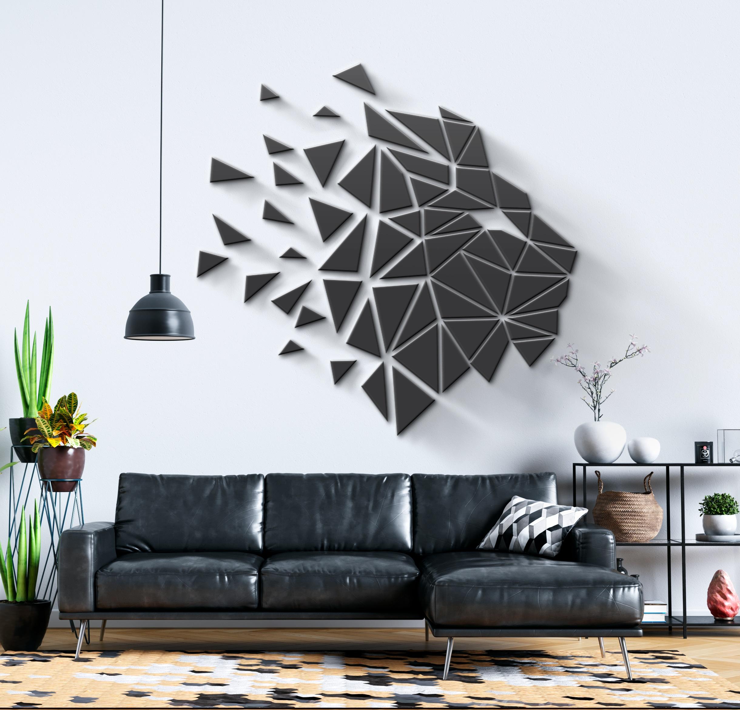 Geometric Lion Head 3d Wall Art Moonwallstickers Com